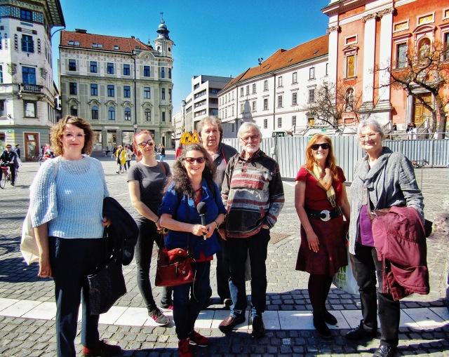 Kärntner SchriftstellerInnen am Prešerenplatz (Prešernov trg) in Ljubljana